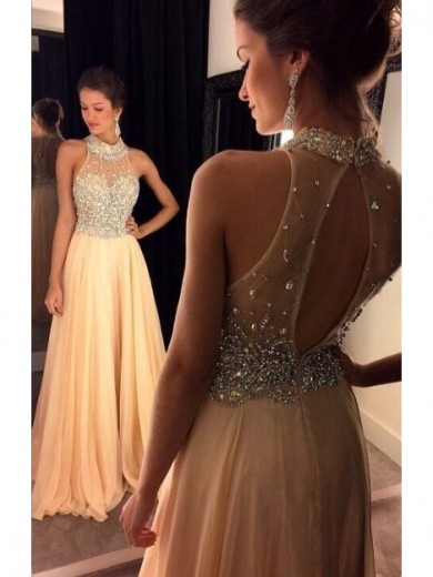 Alexzendra Gold Chiffon A Line Long   Prom     Dresses   Customize 2019 High Neck Crystals Beads Elegant Party   Dresses   Plus Size