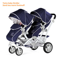 EU Baby Carriage Europe baby brand New Cotton Armrests Baby Stroller twins stroller The Kids trolley Twins Pram
