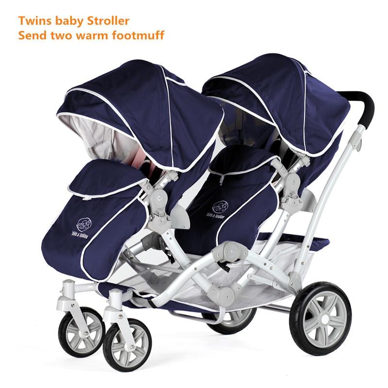 EU Baby Carriage Europe baby brand New Cotton Armrests Kereta bayi kereta bayi kembar kereta bayi Kanak-kanak troli Twins Pram