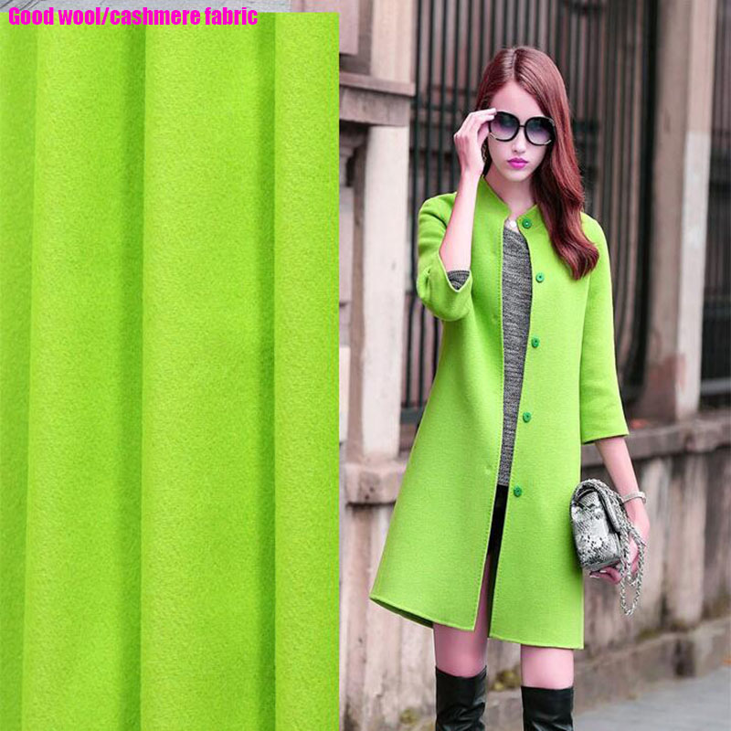 Good Real Wool Fabric Green Cashmere Fabric for Coat Sewing Material Partchwork DIY Fashion Women Coat Dress Fabric Wide 148cm