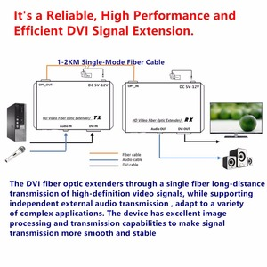 Image 4 - HD1080p DVI Extender Sender Transmit/Receive DVI+Audio Signal by Single Mode Fiber Cable 2KM LC Connector For CCTV Free Shipping