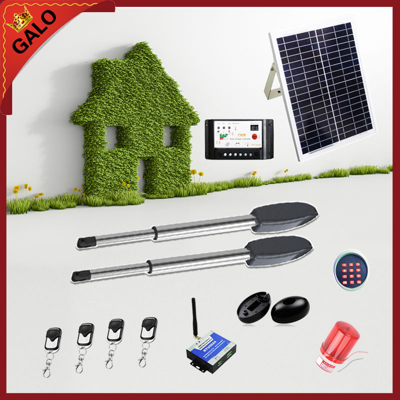 GALO 20W 17V Solar Panel Power System Linear Actuator Swing steel wooden Gate Opener Motor(photocell+lamp button gsm optional) galo 20w 17v solar panel power system linear actuator swing steel wooden gate opener 24vdc motor with infrared beams sonser