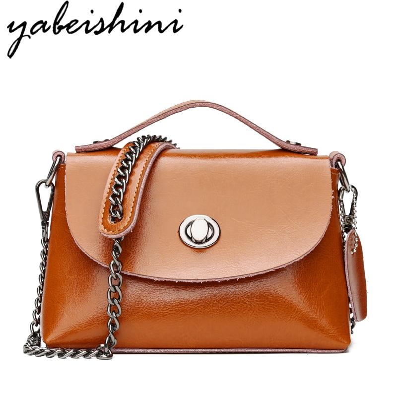 2018 Chains Cow Leather Vintage Bag Famous Designer Brand Bags Women Leather Handbags Genuine Leather Bags Women shoulder bags