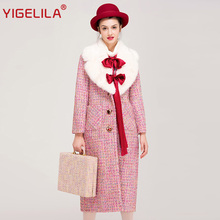 YIGELILA 9505 Latest Autumn Women Fashion Plaid Turn Down Fur Collar Belt Slim Long Tweed Trench Coat