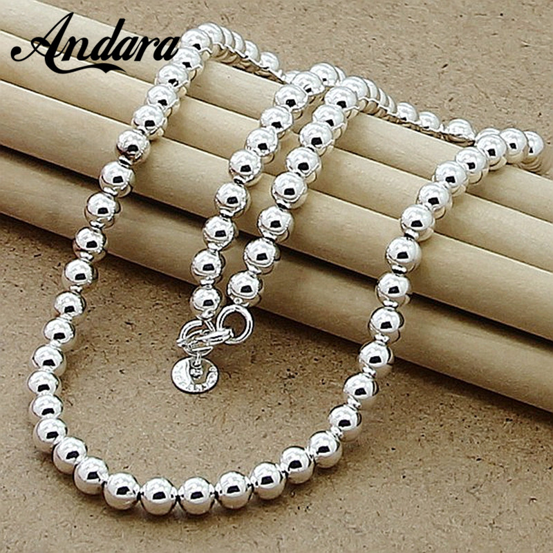 New Brand Fashion 6mm Round Bead Necklace 925 Silver Chain Necklace Free Shipping Fine Jewelry N016