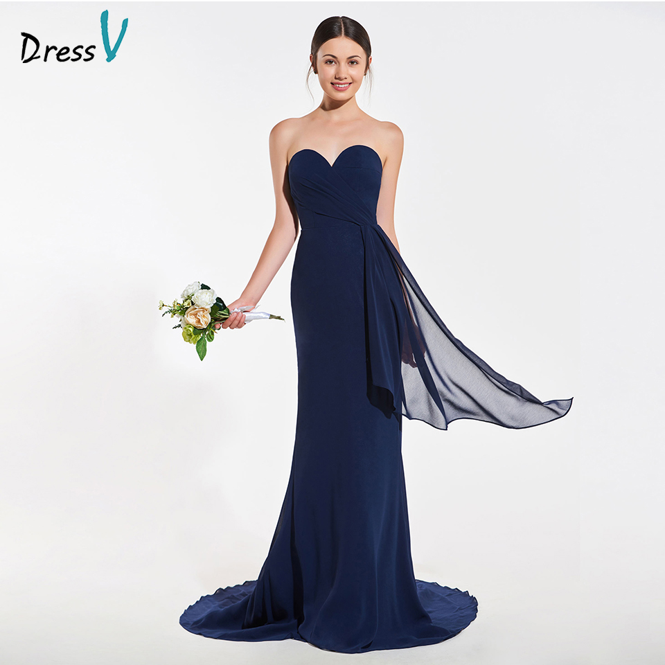 Dressv elegant navy mermaid sleeveless bridesmaid dress backless wedding party women floor length trumpet bridesmaid dress