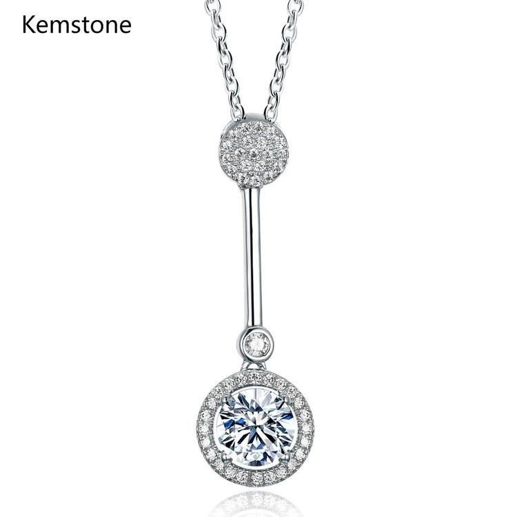 Kemstone элегантный стерлингового серебра 925 Длинный круглый кристалл кулон Цепочки и ожерелья для Для женщин