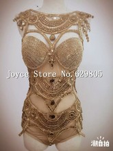 Women's Shining Leotard Bright Bodysuit Costume Crystal Perspective Stage Dancewear Performance Dresses Singer Nightclub Clothes