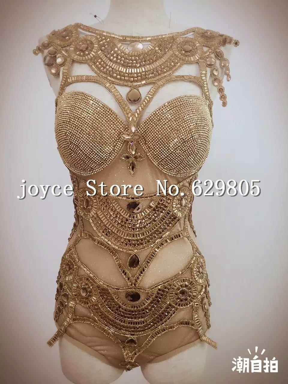 Women's Shining Leotard Bright Bodysuit Costume Crystal Perspective Stage Dancewear Performance Singer Nightclub Clothes