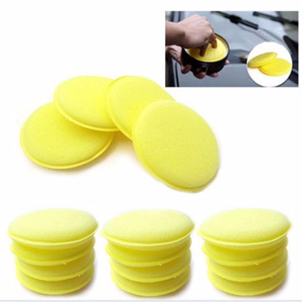 12pcs/lot Car Vehicle Wax Polish Foam Sponge Hand Soft Wax Yellow Sponge Pad/Buffer For Car Detailing Care Wash Clean