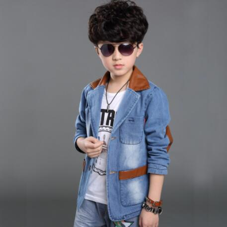 Kids coat boy denim jacket leather collar cotton denim coat top jacket boy long sleeved coat jacket,leisure coat free shippingKids coat boy denim jacket leather collar cotton denim coat top jacket boy long sleeved coat jacket,leisure coat free shipping