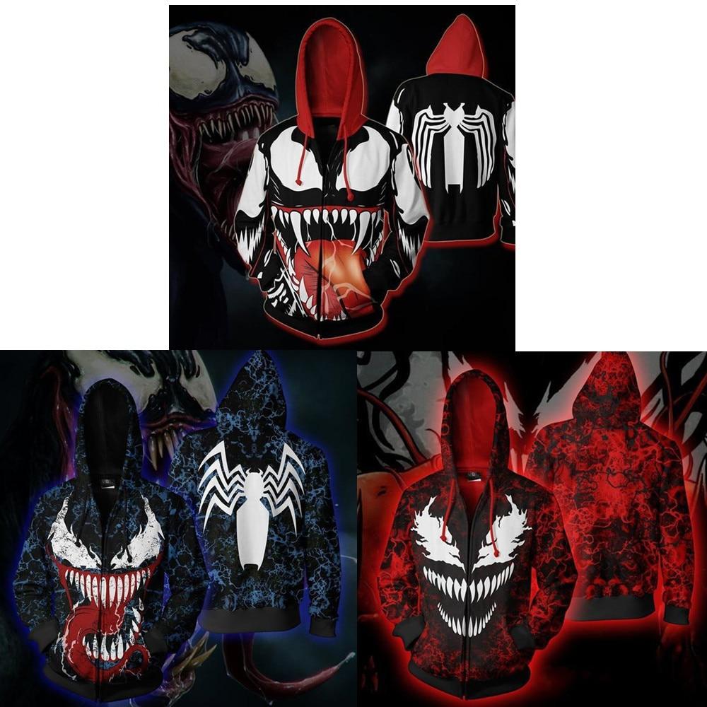 Venom Spiderman Cosplay Costumes Venom Symbiote Cosplay 3D Printed Zip Sweatshirt Ffashion Cartoon Hooded Casual Sweater Jackets