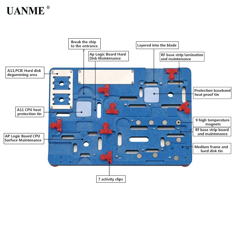 UANME Multifunction Mobile Phone Repair Board PCB Holder For iPhone X Logic Board Chip Fixture wozniak 100% original zillion x work zxw dongle repair mobile phone circuit board repair mobile phone pcb the circuit diagram