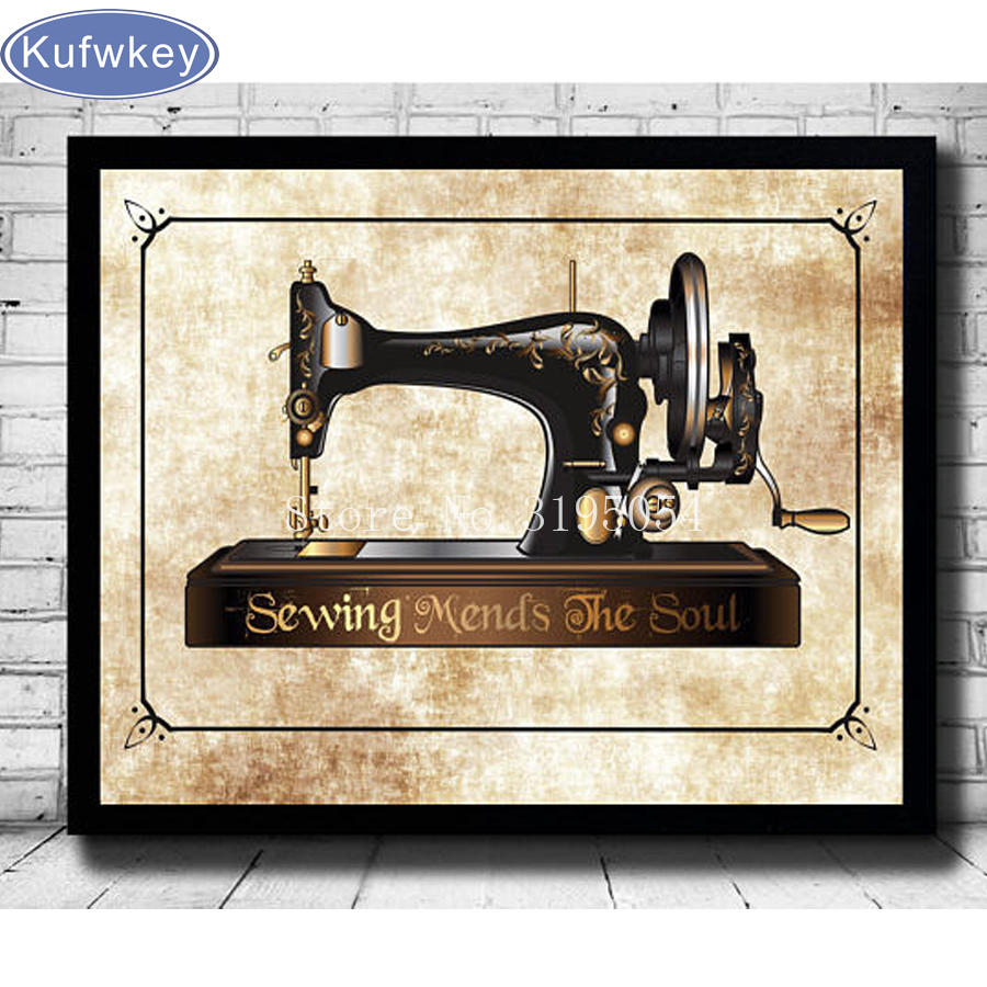 Diy Diamond Painting Cross Stitch Mother's sewing machine Full Rhinestones 5D Mosaic Diamond Embroidery Home Decor