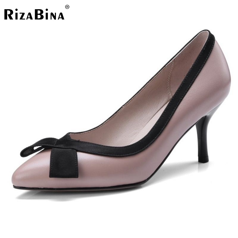 RizaBina Office Lady Real Leather High Heel Shoes Women Bowtie Pointed Toe Thin Heel Pumps Party Club Women Shoes Size 33-40 doratasia denim eourpean style big size 33 43 pointed toe women shoes sexy thin high heel brand design lady pumps party wedding