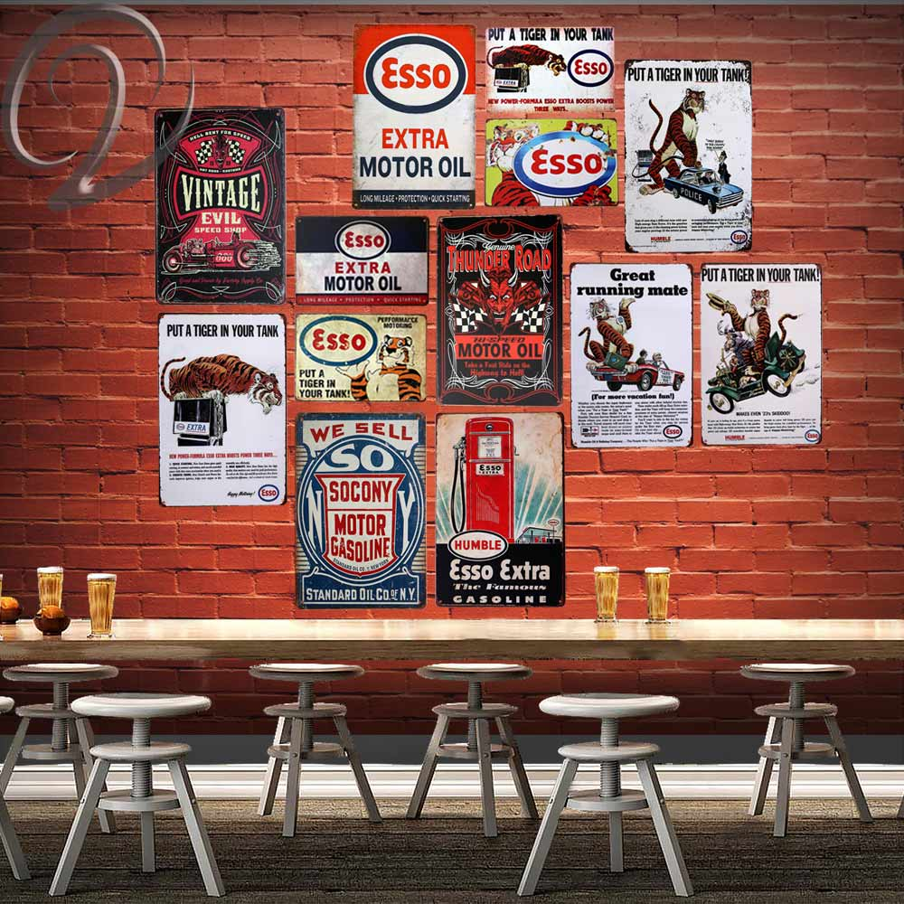 ESSO Tiger Garage Wall Decor Retro Poster Vintage Tin Signs 20*30 cm Metal Plaque Wall Decorations Shabby Chic Metal Sign