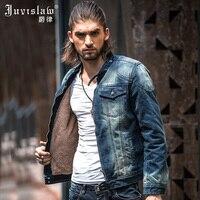 New 2015 Winter Denim Jacket Slim Fit Mens Retro Velvet Liner Long Sleeved Jeans Jacket Thick