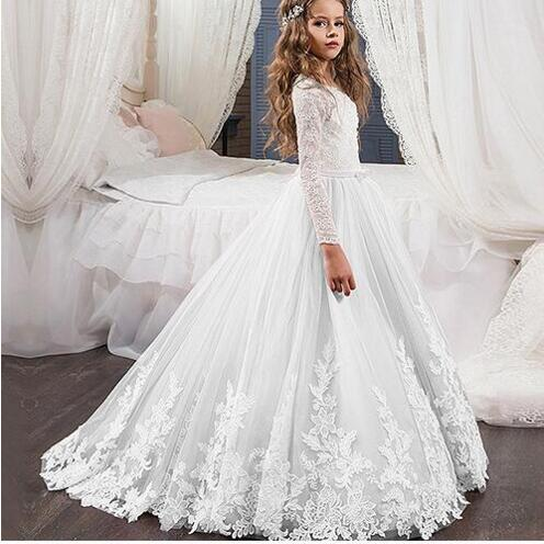 Elegant Lace O Neck Long Sleeves Flower Girl Dress White Ivory Girls Children Gown First Communion Dress for Girls Any Size scoop neck long sleeves printed stylish dress for women