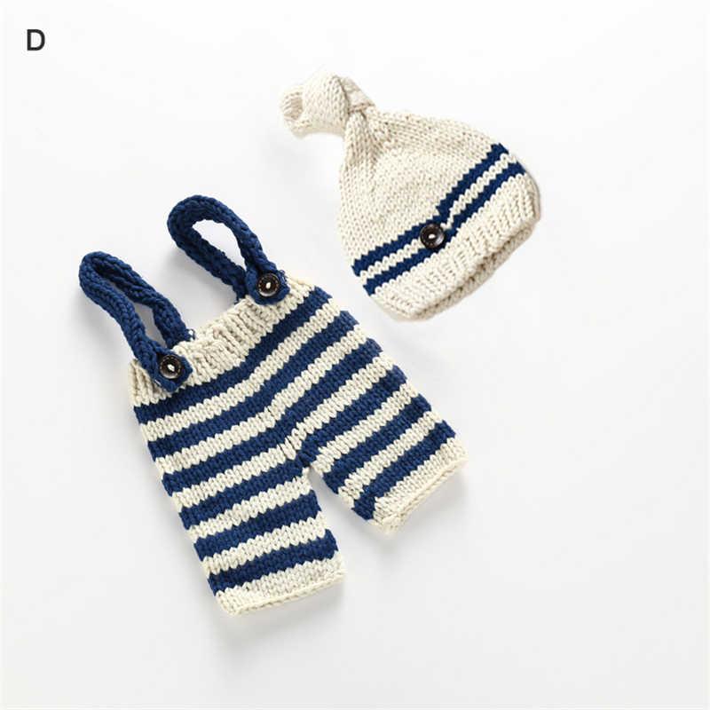 Traje para foto de bebé, ropa para recién nacidos, niñas, niños, accesorios de fotografía, ganchillo, punto, peto, pantalones + sombrero, conjuntos de 2 uds, atuendos a rayas