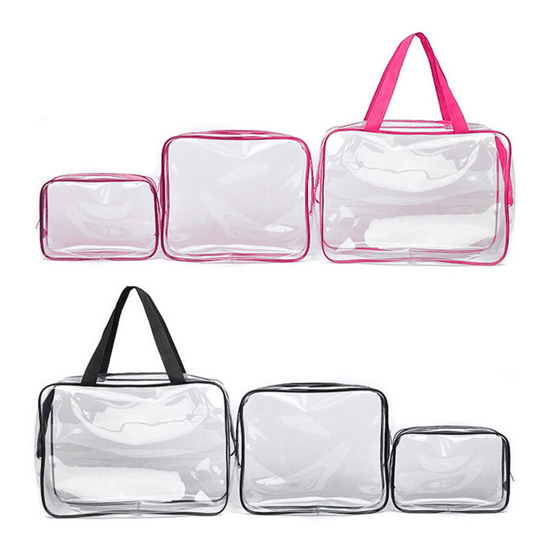 3Pcs/Set Portable Makeup Toiletry Bag Travel Cosmetic Tools Storage Pouch PVC Transparent Waterproof Bag Organizer Make Up Bag drawing strap design gadgets storage nylon bag pouch set watermelon red 4 pcs