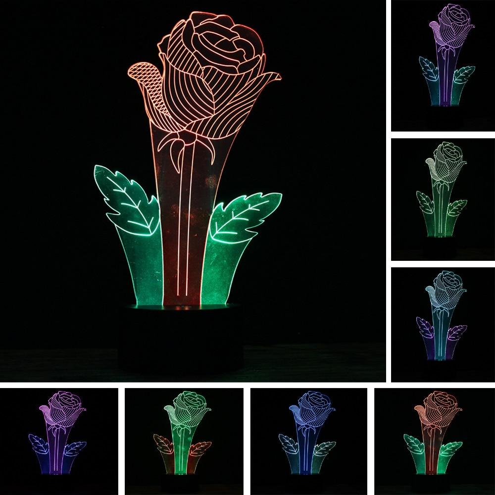 3D смешанные Цвет ночник настольная лампа Новинка Красивая Роза светодиодный 7 цветов из ...