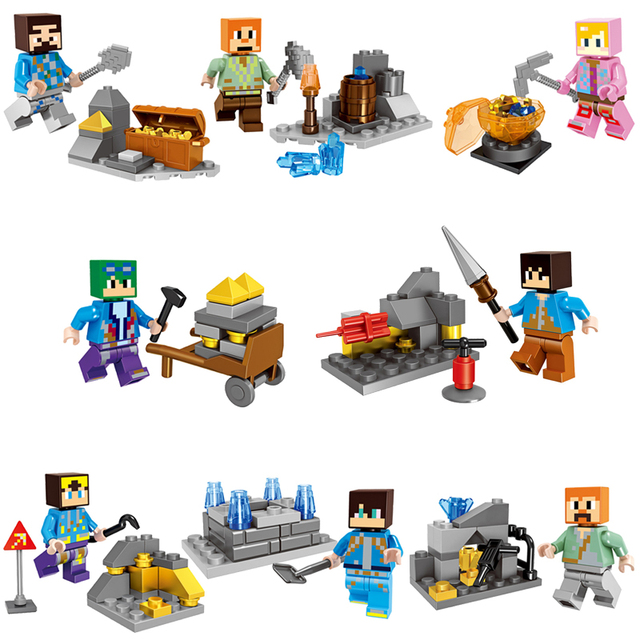 2018 HOT Minecraft Mineral Mining Minifigure Building Blocks Sets Educational Toy for Children Compatible LegoING Christmas Gift