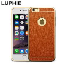 Luphie luxury Aluminum Frame case for iphone6 plus 5 5 phone cses Genuine Leather Back Cover