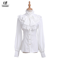 ROLECOS Brand New Fashion Women Blouse Chiffon Black White Long Sleeve Shirt Gothic Style Sweet Ruffle Lolita Blouse for Woman