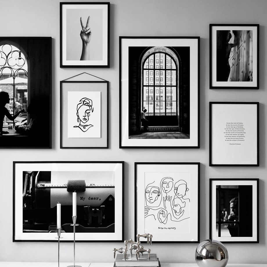Black White Vintage Poster Abstract Line Nordic Posters And Prints Wall Art Canvas Painting Wall Pictures For Living Room Decor