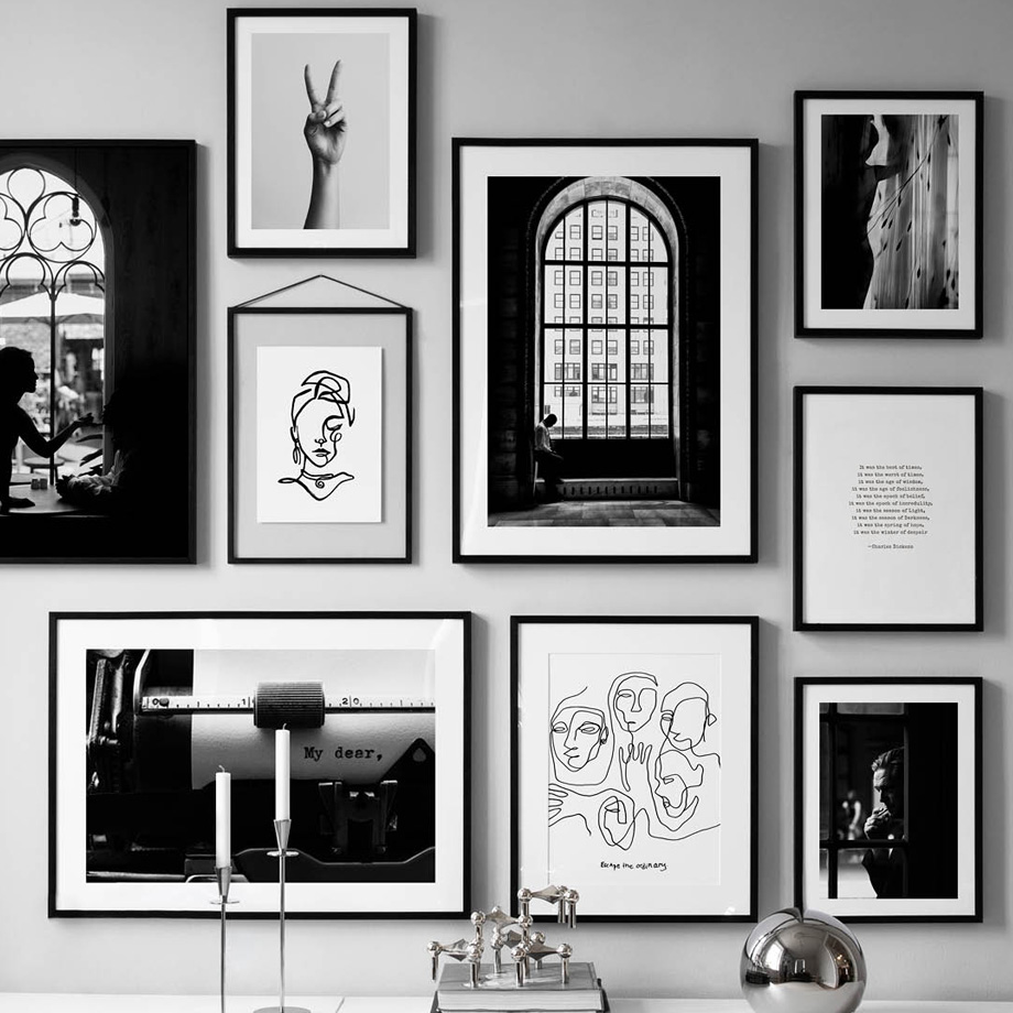 Black White Vintage Poster Abstract Line Nordic Posters And Prints Wall Art Canvas Painting Wall Pictures For Living Room Decor in Painting Calligraphy from Home Garden