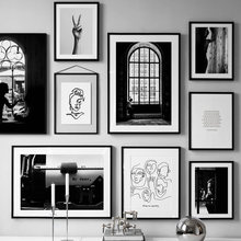 Black White Vintage Poster Abstract Line Nordic Posters And Prints Wall Art Canvas Painting Wall Pictures For Living Room Decor(China)