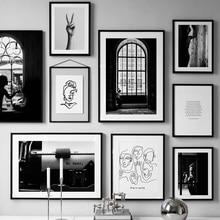 Cartel Vintage blanco negro línea abstracta carteles nórdicos e impresiones cuadro sobre lienzo para pared fotos para decoración para sala de estar