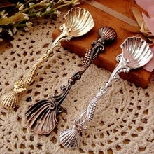 Wholesale Zakka vintage fashion exquisite royal shell spoon small coffee spoon flavorfully dessert spoon mixing spoon slim dessert spoon