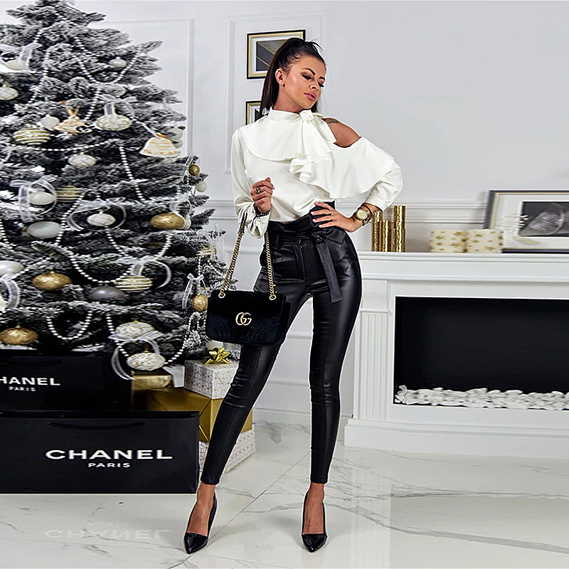 InstaHot Gold Black Belt High Waist Pencil Pant Women Faux Leather PU Sashes Long Trousers Casual Sexy Exclusive Design Fashion 6