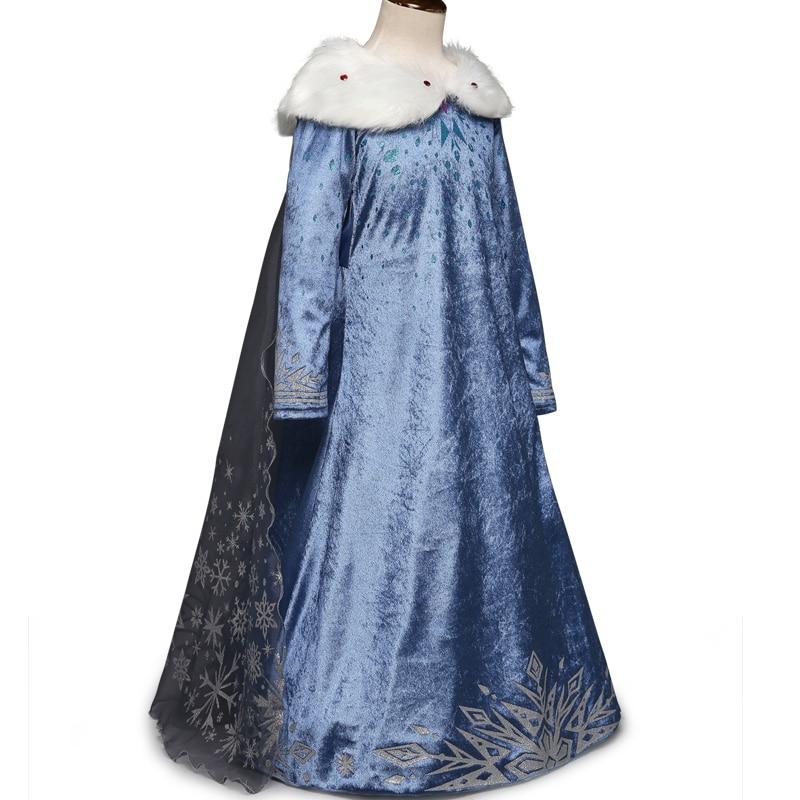 2019 Elsa Dresses For Girls Princess Anna Elsa Costumes Party Cosplay Elza Vestidos Hair Accessory Set Children Girls Clothing
