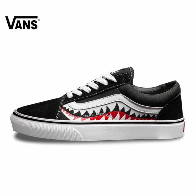 64eef3cab1c127 Vans X Bape Sharktooth Custom Bape SHARK MOUTHS Women Sneakers Canvas  Sports for Women 4VN000D3HY95 35