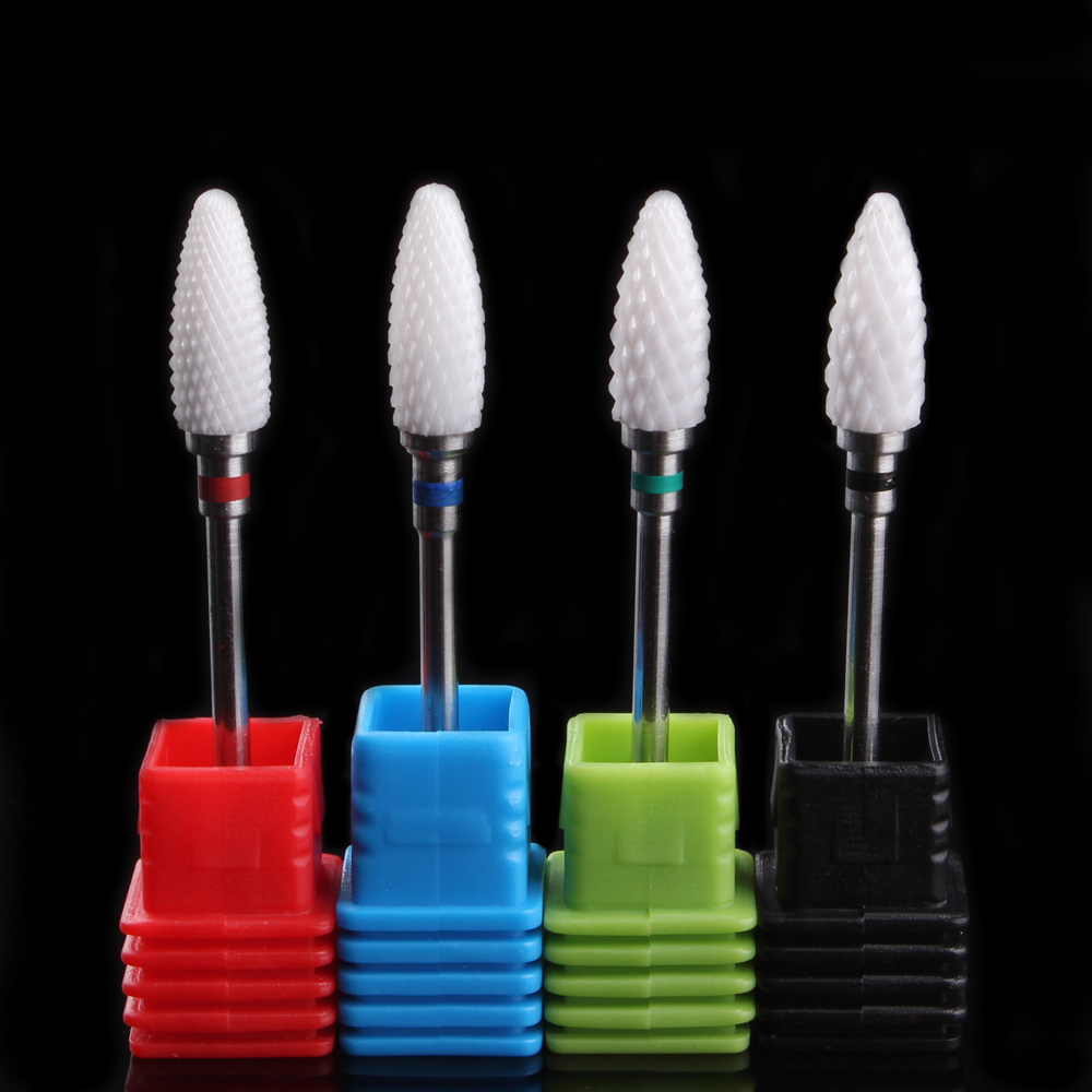 Tocassjo Portable Nail Drill Bit Flame Shape Ceramic Milling Cutters For Gel Nail Polish