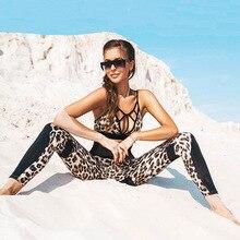 Women Yoga Set Leopard Printed Elastic Compression Pant Leggings Bra Running Jogger Fitness Outffit Gym Sportswear