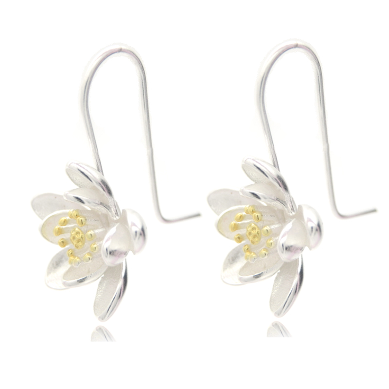 DIEERLAN Fashion Big 925 Sterling Silver Earrings For Women Wedding Jewelry Statement Lotus Flower Earrings Pendientes Bijoux