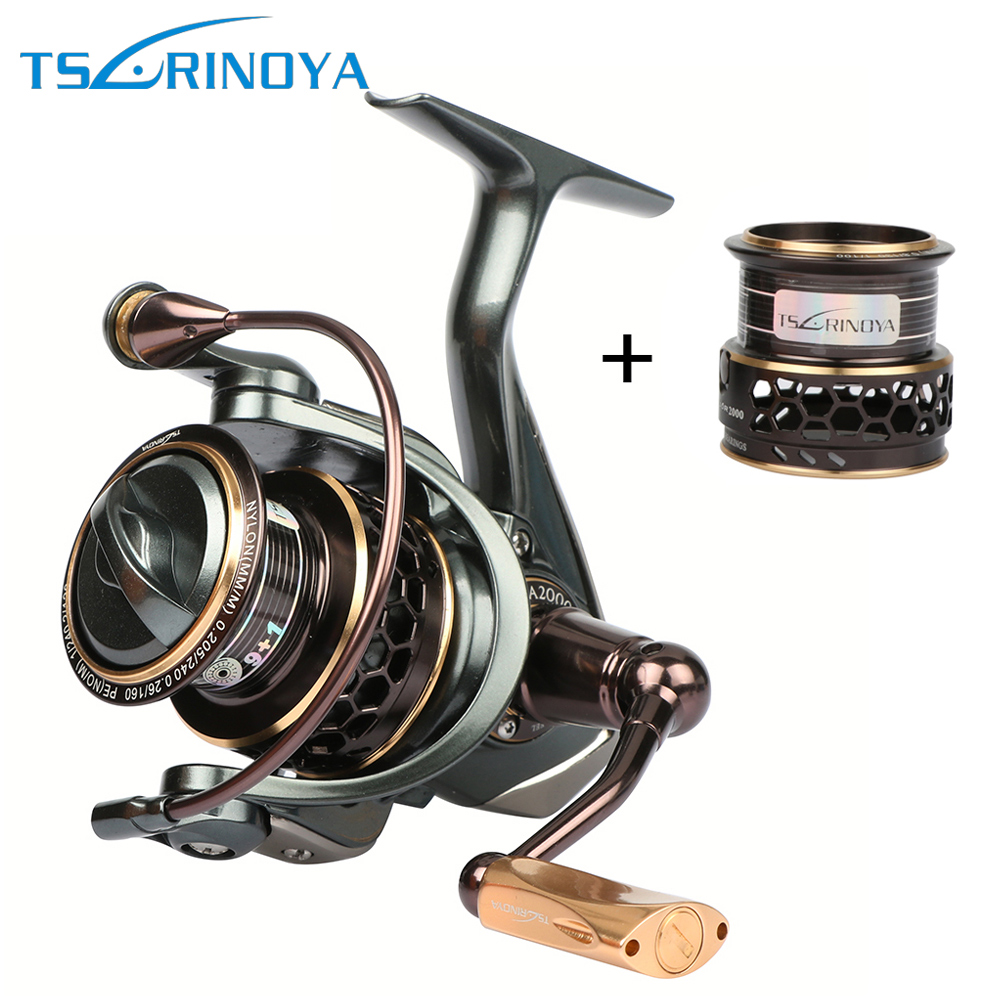Tsurinoya Jaguar Spinning Fishing Reels 9BB 5.2:1 Double Metal Spool Left/Right Hand Sea Lure Reel 1000 2000 3000 12 1 bb ball bearing left right fishing spinning reels sea fish line reel