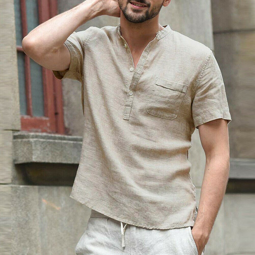 Hot Men's Casual Short Sleeve Shirt Summer Cool Loose Shirts V-Neck Tops Male Solid Button Beach Shirts Daily Gift High Quality