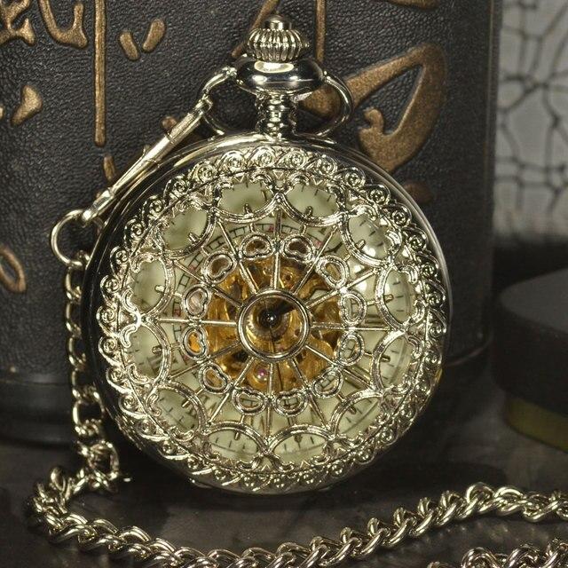 TIEDAN Silver Skeleton Pocket Watches Men Antique Luxury Brand Necklace Steampun