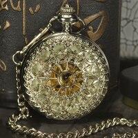 TIEDAN Silver Skeleton Pocket Watches Men Antique Luxury Brand Necklace Steampunk Automatic Mechanical Pocket Fob Watch