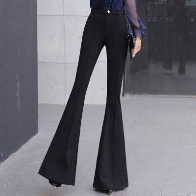 SMTHMA Women Summer Sping Fashion Solid Black Pants Ladies Elegant Bottom Wide Ruffles Trousers S M L XL 2XL Full Length 5