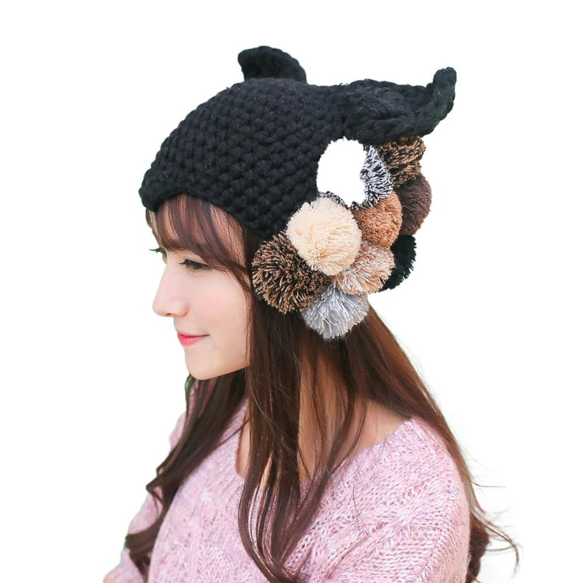 Winter Fashion Style Fashion Women Lady Girls Warm  Crochet Hat Fur Wool Knit  Warm Cap  Apr 09