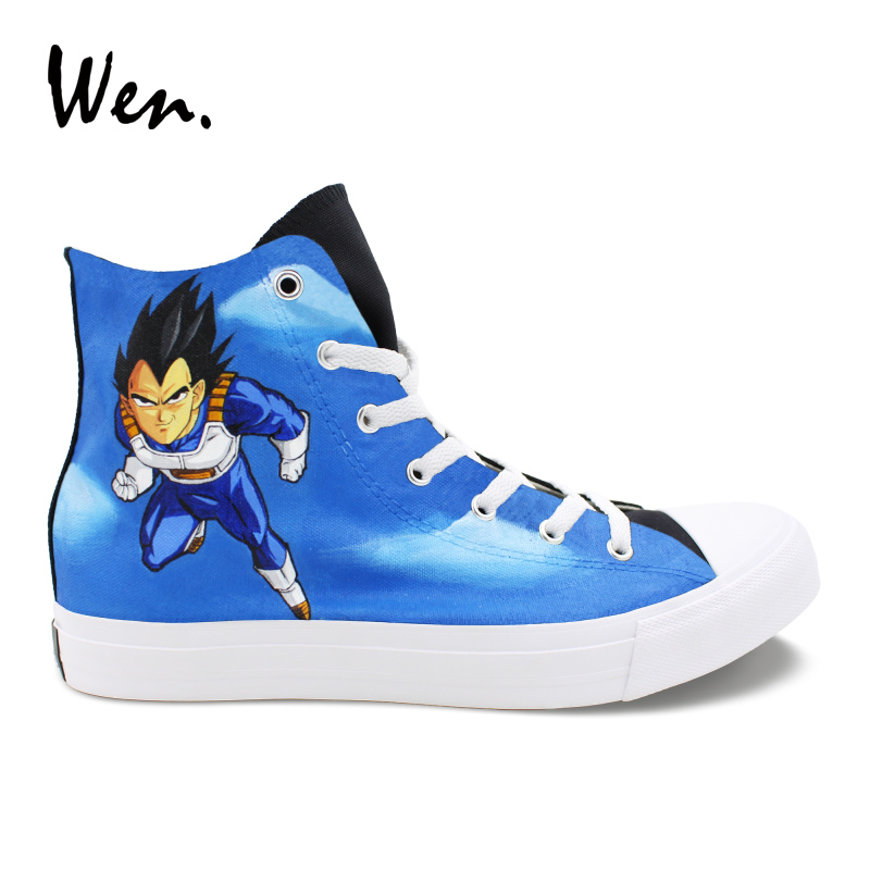Wen Custom Design Hand Painted Sports Shoes Dragon Ball Z Vageta Goku High Top Canvas Sneakers Girls Boys Skateboarding Shoes wen giraffe canvas shoes classic white hand painted animal sneakers sports high top skateboarding shoes for man woman