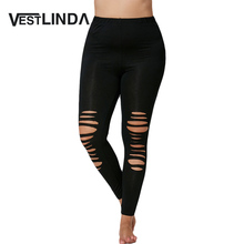Plus Size Leggings Hollow Out Ripped Fitted Spandex Casual Fitness Leggings Pants Women Black Workout Leggings
