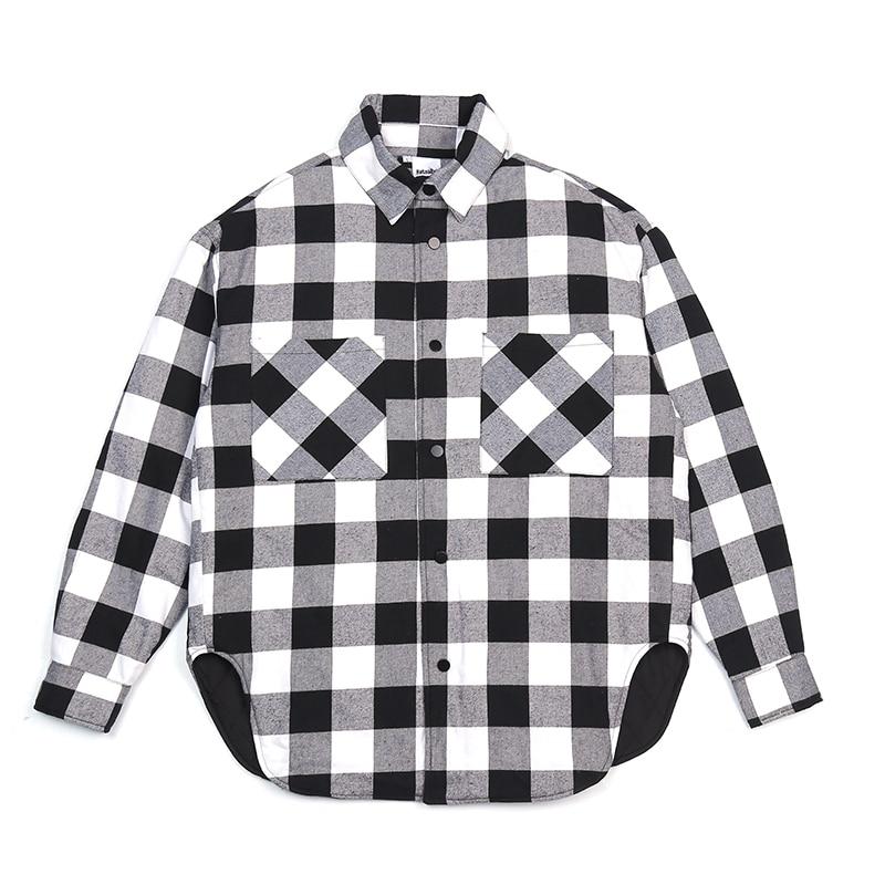 Rood Zwart Plaid Gewatteerde Katoenen Shirt Mannen 2019 Vintage Hip Hop Plus Dikke Tartan Lange Mouwen Shirt High Street Losse kleding - 4