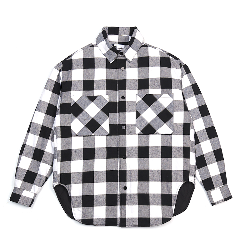 Vermelho preto xadrez acolchoado camisa de algodão dos homens 2019 vintage hip hop mais grosso tartan manga longa camisa alta rua solta roupas - 4