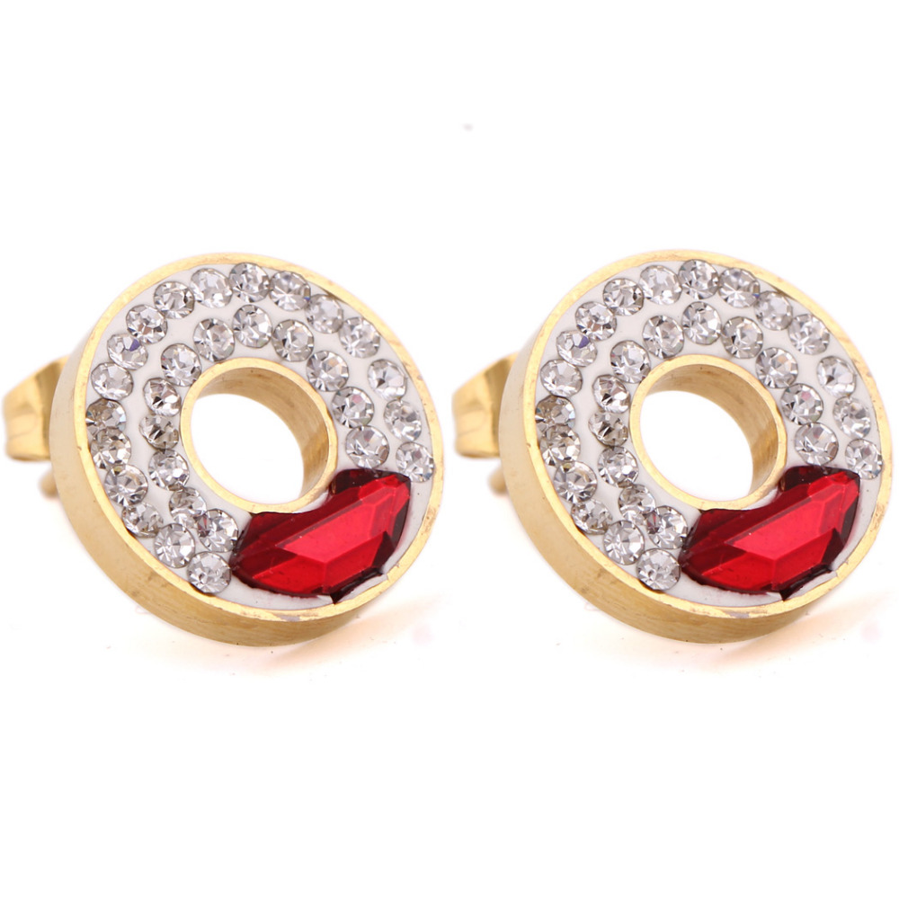 Three Color Birthstone Bloom Stud Earrings For Women Female Wedding Party  Fashion Earring Original Jewelry Making